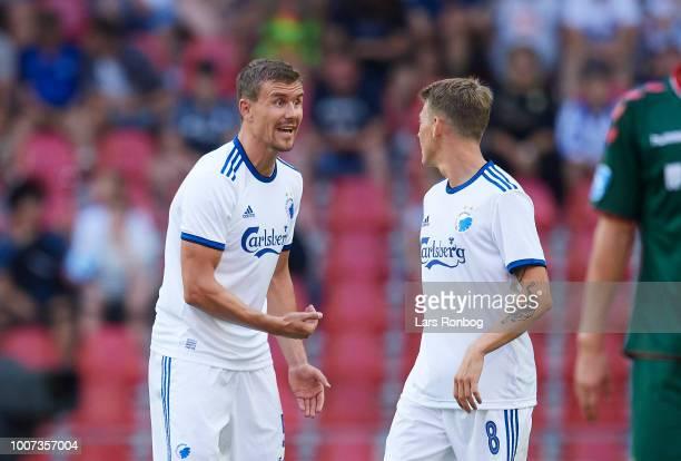 Andreas Bjelland of FC Copenhagen speaks to Nicolaj Thomsen of FC Copenhagen during the Danish Superliga match between FC Copenhagen and AaB Aalborg...