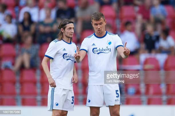 Andreas Bjelland of FC Copenhagen speaks to Rasmus Falk of FC Copenhagen during the Danish Superliga match between FC Copenhagen and AaB Aalborg at...