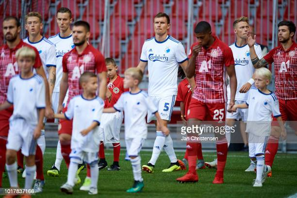 Andreas Bjelland of FC Copenhagen walk on to the pitch prior to the UEFA Europa League Qualification match between FC Copenhagen and CSKA Sofia at...