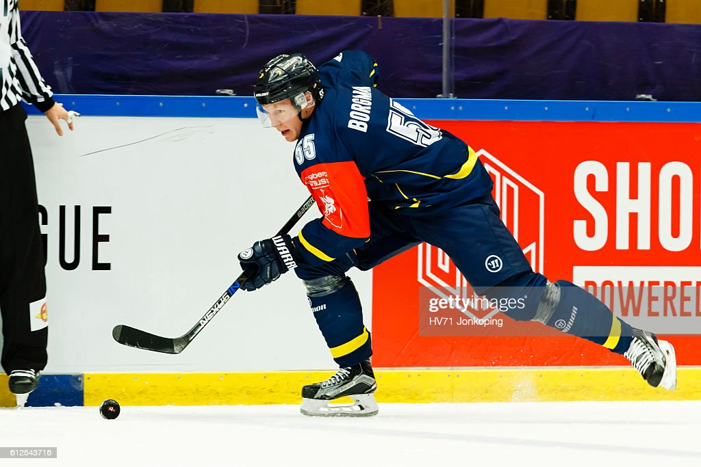 Andreas Borgman #55 of HV71 Jonkoping in action during the Champions Hockey League Round of 32 match between HV71 Jonkoping and Lukko Rauma at Kinnarps Arena on October 4, 2016 in Jonkoping, Sweden.