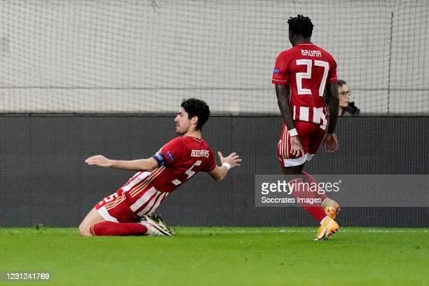 Andreas Bouchalakis of Olympiakos Piraeus Celebrates 1-0 during the UEFA Europa League match between Olympiakos Piraeus v PSV at the Stadio Georgios...