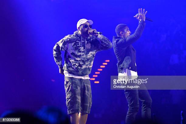 Andreas Bourani and Sido perform during the Global Citizen Festival at the Barclaycard Arena on July 6 2017 in Hamburg Germany