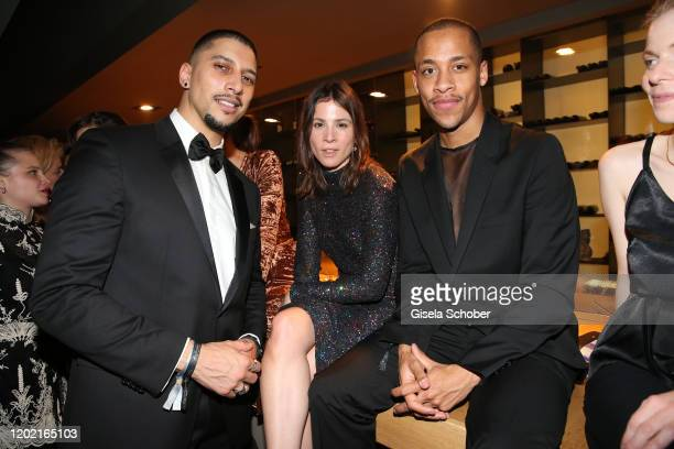 """Andreas Bourani, Aylin Tezel and Jerry Hoffmann attend the Berlin Opening Night by Bertelsmann Content Alliance at hotel """"Das Stue"""" on February 20,..."""