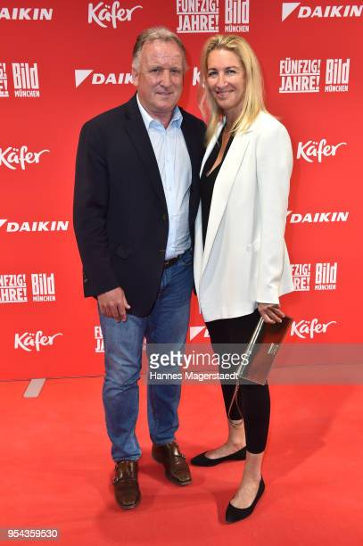 Andreas Brehme and his partner Susanne Schaefer attend the BILD Muenchen Newspaper 50th anniversary party at MTTC IPHITOS on May 3 2018 in Munich...