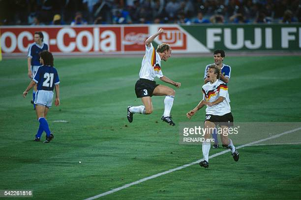 Andreas Brehme celebrates scoring a goal in the 1990 FIFA World Cup final against Argentina West Germany won 10