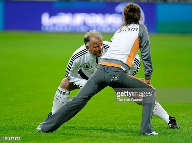 Andreas Brehme of Germany warms up prior to the century match between Germany and Italy at Commerzbank Arena on October 14 2012 in Frankfurt am Main...