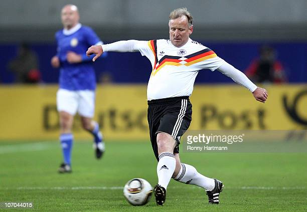 Andreas Brehme of the World Champion 1990 runs with the ball during the Reunification match between the World Champion 1990 and the DFV Legend at the...