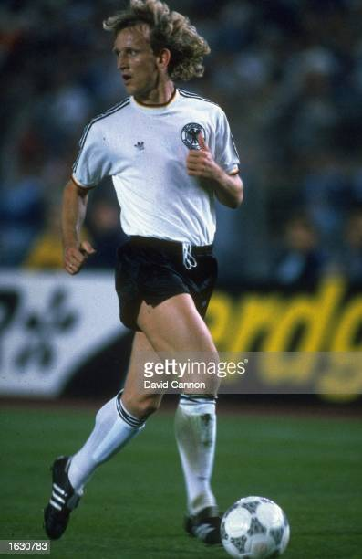 Andreas Brehme of West Germany in action during a match against England in Dusseldorf West Germany West Germany won the match 31 Mandatory Credit...