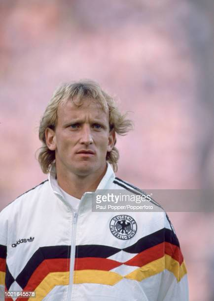 Andreas Brehme of West Germany lines up before the UEFA Euro 88 Group 1 match between West Germany and Spain at the Olympiastadion on June 18 1988 in...