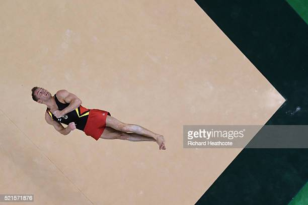 Andreas Bretschneider of Germany competes on the floor during quailifaction in the Artistic Gymnastics Aquece Rio Test Event at the Olympic Park on...