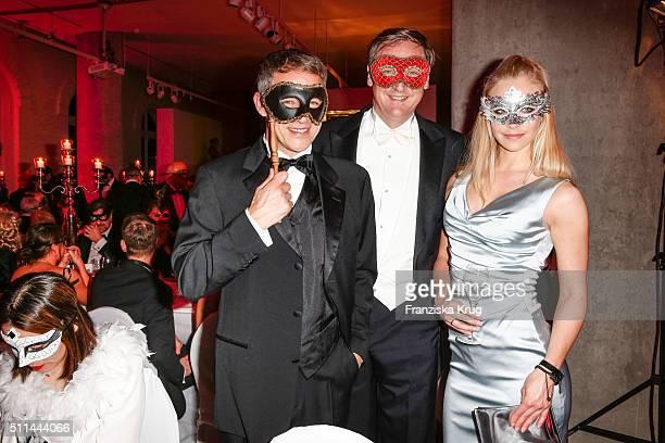 Andreas Brucker Christian von Boetticher and Jennifer Nickel attend the Bal Masque 2016 on February 20 2016 in Hamburg Germany