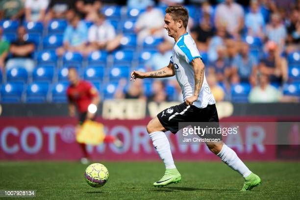 Andreas Bruhn of Randers FC controls the ball during the Danish Superliga match between Randers FC and OB Odense at BioNutria Park Randers on July 29...