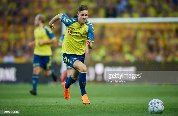 Andreas Bruus of Brondby IF controls the ball during the Danish Alka Superliga match between Brondby IF and FC Midtjylland at Brondby Stadion on May...