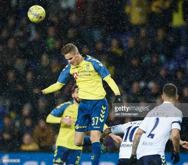 Andreas Bruus of Brondby IF heading the ball during the Danish Alka Superliga match between Brondby IF and AGF Arhus at Brondby Stadion on December...