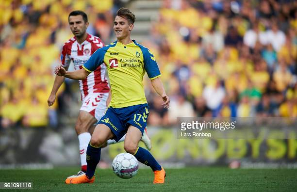 Andreas Bruus of Brondby IF in action during the Danish Alka Superliga match between Brondby IF and AaB Aalborg at Brondby Stadion on May 21 2018 in...