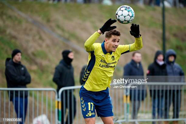 Andreas Bruus of Brondby IF in action during the testmatch between Brondby IF and SonderjyskE at Brondby Stadion on February 10, 2020 in Brondby,...