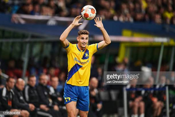 Andreas Bruus of Brondby IF in action during the UEFA Europa League match between Brondby IF and AC Sparta Praha at Brondby Stadion on September 16,...