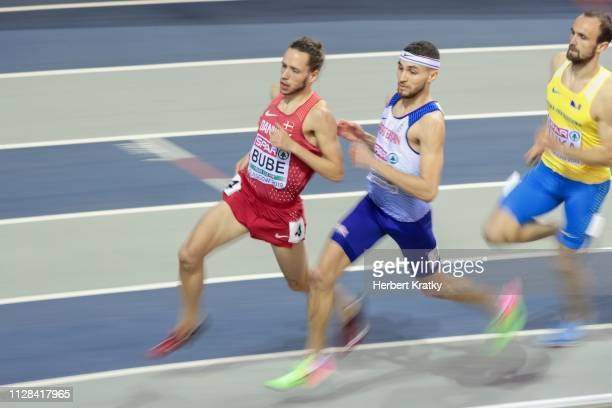 Andreas Bube of Denmark Joe Reid of Great Britain and Amel Tuka of Bosnia and Herzegowina compete in the semifnals of the men's 800m event on March 2...