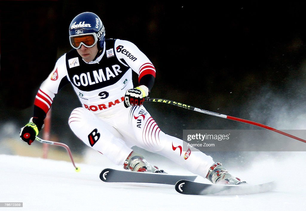 Andreas Buder of Austria takes 2nd place during the Alpine FIS Ski World Cup Men's Downhill on December 29, 2007 in Bormio, Italy.