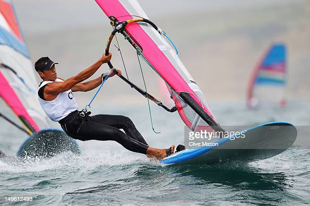 Andreas Cariolou of Cyprus competes in the Men's RSX Sailing on Day 4 of the London 2012 Olympic Games at the Weymouth Portland Venue at Weymouth...