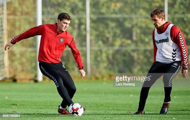Andreas Christensen and Andreas Bjelland compete for the ball during the Denmark training Session at Dragor Stadion on October 2 2017 in Dragor...