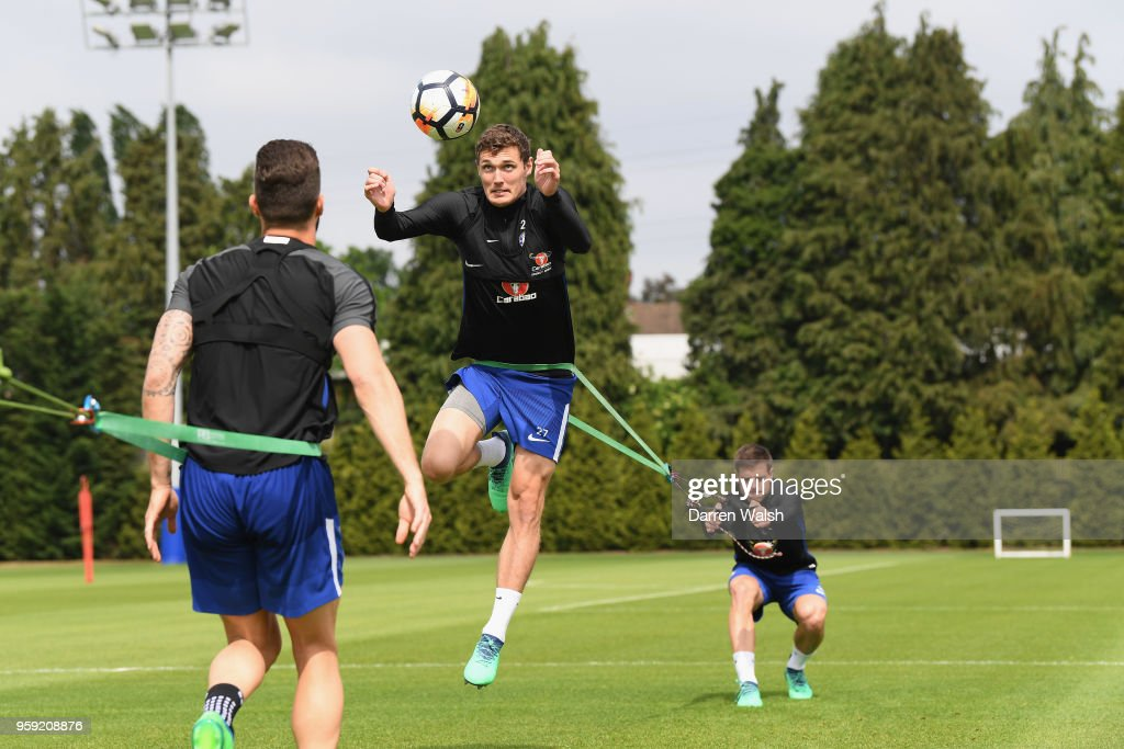 Andreas Christensen and Cesar Azpilicueta of Chelsea during a Strength and Conditioning training session at Chelsea Training Ground on May 16, 2018 in Cobham, England.