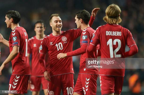 Andreas Christensen and Christian Eriksen of Denmark celebrates after scoring their fifth goal during the UEFA EURO 2020 Qualifier match between...