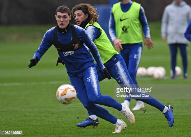 Andreas Christensen and Ethan Ampadu of Chelsea during an open training session at Chelsea Training Ground on November 26 2018 in Cobham England