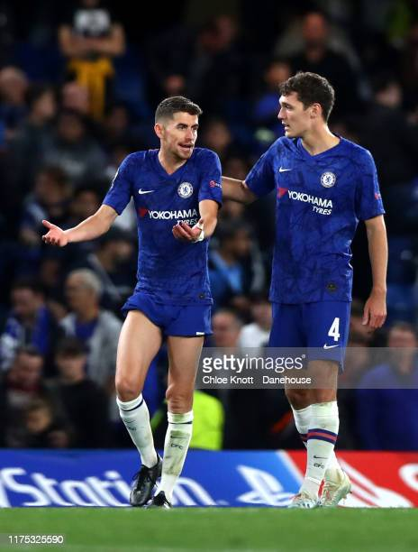 Andreas Christensen and Jorginho of Chelsea FC react after loosing the UEFA Champions League group H match between Chelsea FC and Valencia CF at...