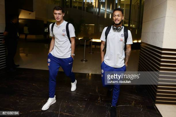 Andreas Christensen and Lewis Baker of Chelsea FC arrive at Jet Quay Private Terminal ahead of the International Champions Cup on July 23 2017 in...