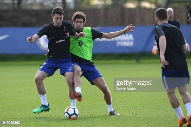 Andreas Christensen and Marcos Alonso of Chelsea during a training session at Chelsea Training Ground on April 20 2018 in Cobham England
