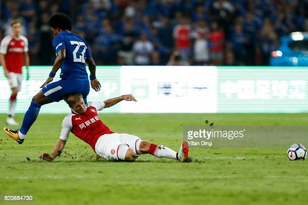 Andreas Christensen and Nacho Monreal fight for the ball during the PreSeason Friendly match between Arsenal FC and Chelsea FC at Birds Nest on July...