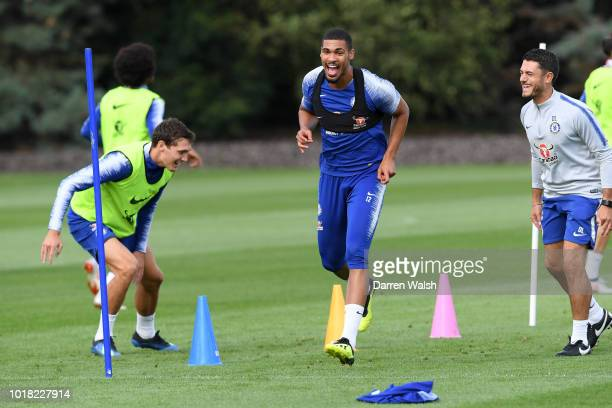 Andreas Christensen and Ruben LoftusCheek of Chelsea during a training session at Chelsea Training Ground on August 17 2018 in Cobham England