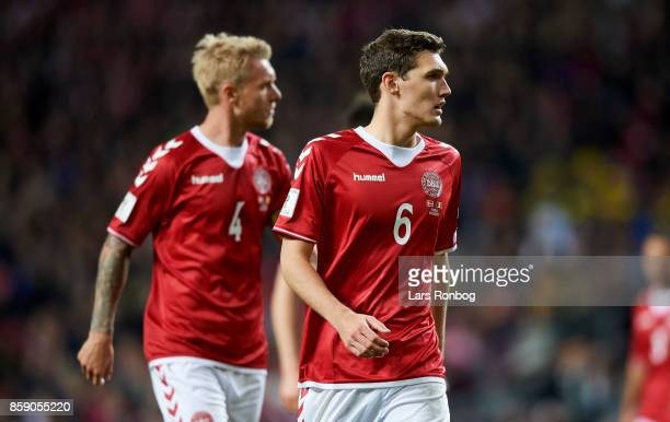 Andreas Christensen and Simon Kjar of Denmark in action during the FIFA World Cup 2018 qualifier match between Denmark and Romania at Telia Parken...