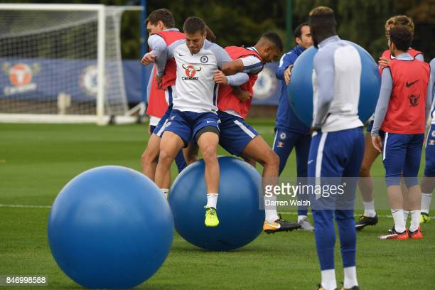 Andreas Christensen Cesar Azpilicueta and Jake ClarkeSalter of Chelsea during a training session at Chelsea Training Ground on September 14 2017 in...