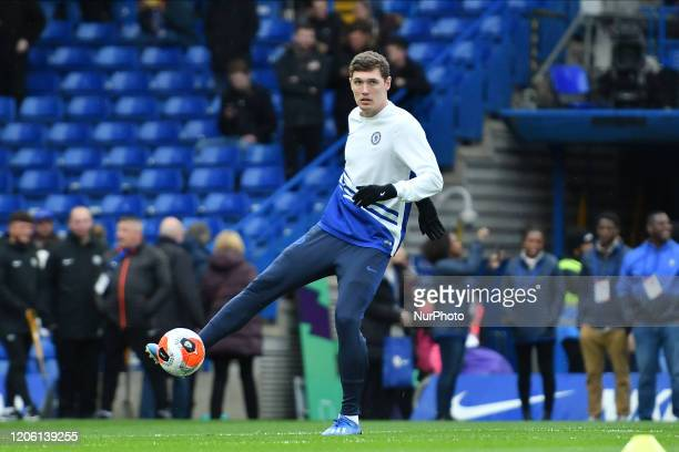 Andreas Christensen during the Premier League match between Chelsea and Everton at Stamford Bridge London on Sunday 8th March 2020