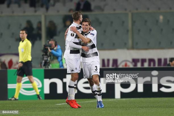 Andreas Christensen of Borussia Moenchengladbach celebrates after scoring a goal during the UEFA Europa League Round of 32 second leg match between...