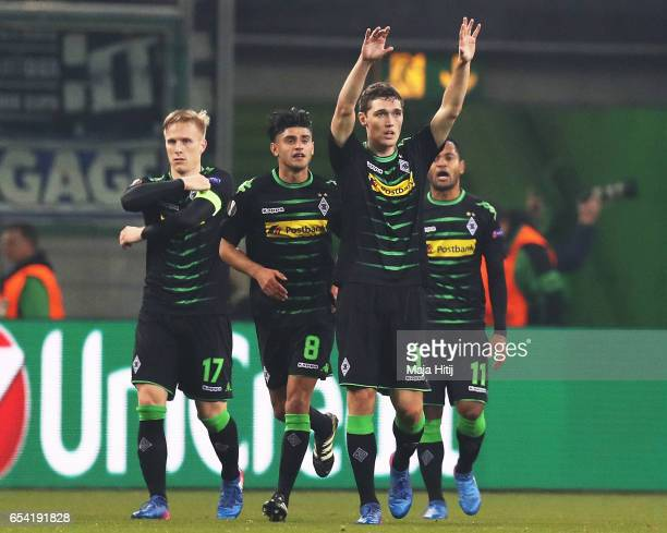 Andreas Christensen of Borussia Moenchengladbach celebrates after scoring a goal during the UEFA Europa League Round of 16 second leg match between...