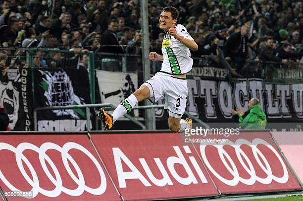 Andreas Christensen of Borussia Moenchengladbach celebrates after his team's third goal during the Bundesliga match between Borussia Moenchengladbach...