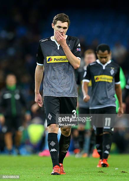 Andreas Christensen of Borussia Moenchengladbach leaves the field dejected following the UEFA Champions League Group D match between Manchester City...