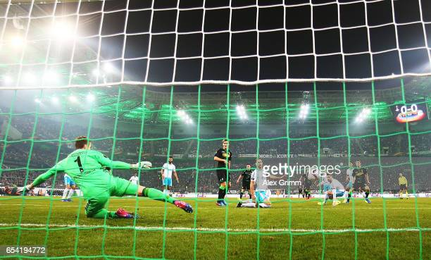 Andreas Christensen of Borussia Moenchengladbach scores a goal during the UEFA Europa League Round of 16 second leg match between Borussia...