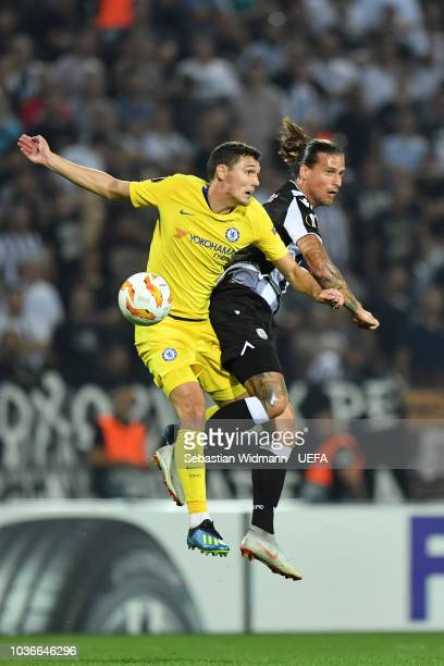 Andreas Christensen of Chelsea and Aleksandar Prijovic of PAOK jump for a header during the UEFA Europa League Group L match between PAOK and Chelsea...