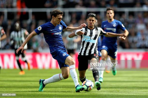 Andreas Christensen of Chelsea and Ayoze Perez of Newcastle United battle for possession during the Premier League match between Newcastle United and...