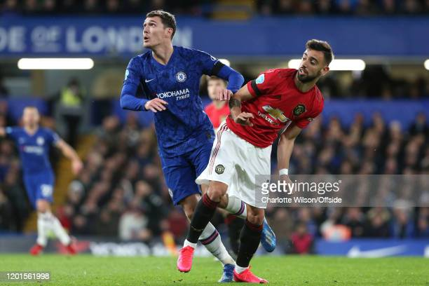 Andreas Christensen of Chelsea and Bruno Fernandes of Man Utd during the Premier League match between Chelsea FC and Manchester United at Stamford...