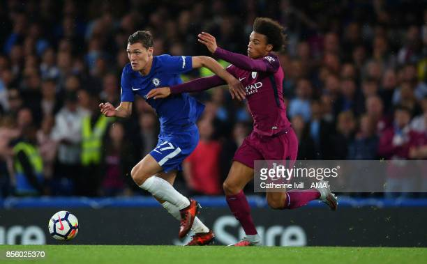 Andreas Christensen of Chelsea and Leroy Sane of Manchester City during the Premier League match between Chelsea and Manchester City at Stamford...