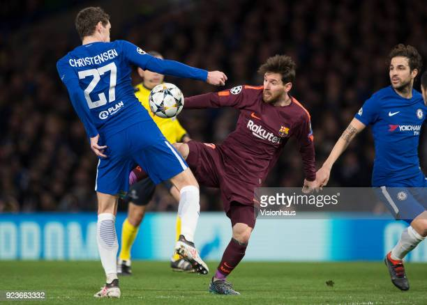 Andreas Christensen of Chelsea and Lionel Messi of Barcelona during the UEFA Champions League Round of 16 First Leg match between Chelsea FC and FC...