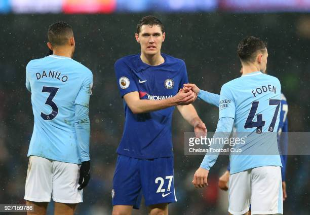 Andreas Christensen of Chelsea and Phil Foden of Manchester City shake hands following the Premier League match between Manchester City and Chelsea...