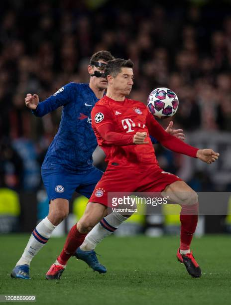 Andreas Christensen of Chelsea and Robert Lewandowski of Bayern Munich during the UEFA Champions League round of 16 first leg match between Chelsea...