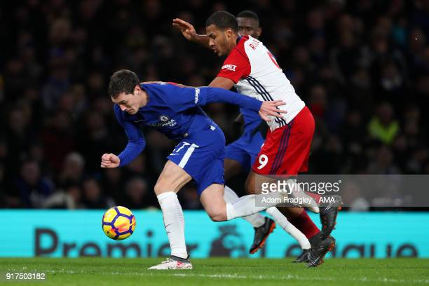 Andreas Christensen of Chelsea and Salomon Rondon of West Bromwich Albion during the Premier League match between Chelsea and West Bromwich Albion at...