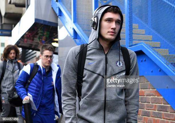 Andreas Christensen of Chelsea arrives at the stadium prior to the Premier League match between Chelsea and Leicester City at Stamford Bridge on...